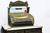 stock photo of cash register  - antique cash register with a card sale - JPG