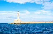 pic of lighthouse  - Sunny lighthouse in Mediterranean sea Crete Greece - JPG