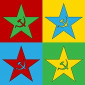 stock photo of communist symbol  - Pop art communism star symbol icons - JPG