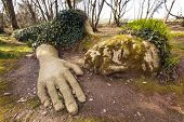 picture of garden sculpture  - Mud Maiden at the Lost Gardens of Heligan - JPG