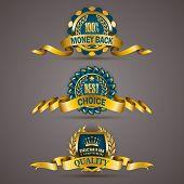 pic of 100 percent  - Set of luxury golden badges with laurel wreath - JPG