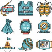 stock photo of nautical equipment  - Set of flat color design vector icons with black contour for diving and snorkeling equipment and elements on white background - JPG