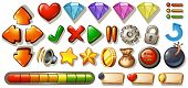 pic of heart sounds  - Different symbols and icons of game elements - JPG