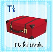 image of letter t  - Flash card letter T is for trunk - JPG