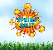 picture of spring break  - Spring sale sign with nature background - JPG
