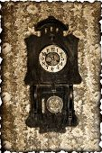 foto of pendulum clock  - old wall clock with a pendulum in a retro style - JPG