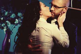 stock photo of office romance  - Kissing couple - JPG