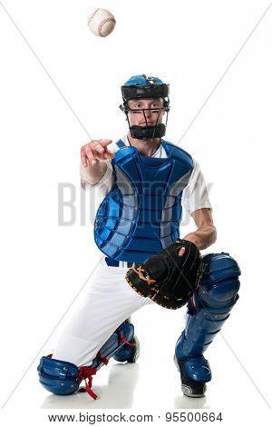 Young adult baseball player. Studio shot over white.