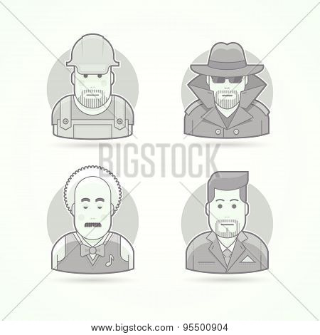 Worker, spy, musician and suit man icons. Avatar and person illustrations. Flat black and white outl