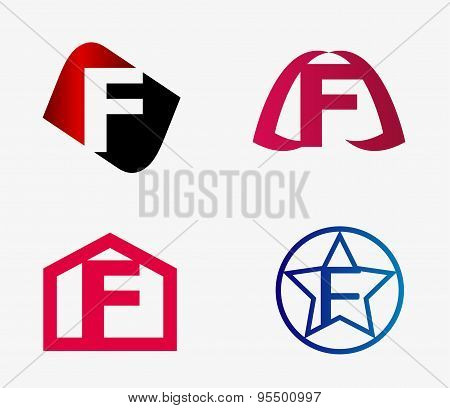 Vector set of abstract icons based on the letter f