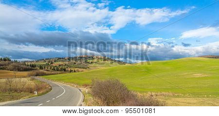 Idyllic Tuscan Landscape And Pienza Skyline, Val Dorcia, Italy