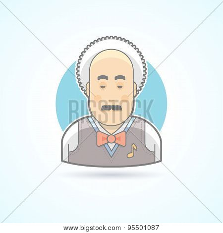 Musical teacher, musician icon. Avatar and person illustration. Flat colored outlined style.