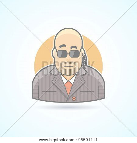 Body guard, security, bouncer, secret service agent icon. Avatar and person illustration. Flat color