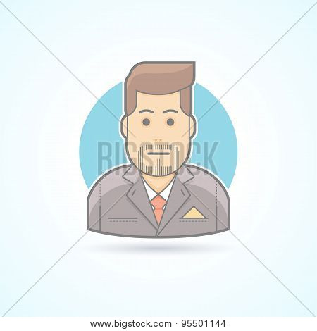Manager, broker, sales agent icon. Avatar and person illustration. Flat colored outlined style.