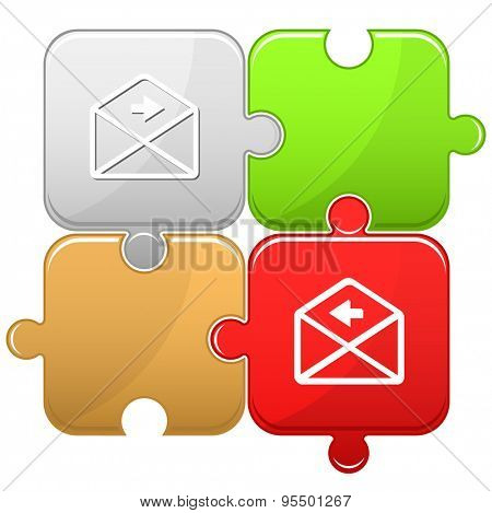 mail right arrow. Vector puzzle.
