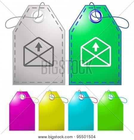 mail up arrow. Vector tags.