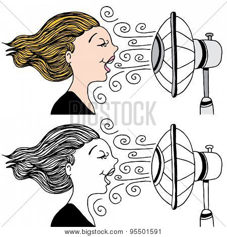 An image of a woman with a fan blowing in her face to cool down.