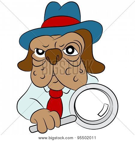 An image of a cartoon dog detective with a magnifying glass.