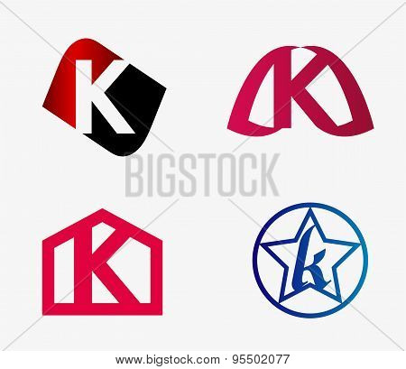 Abstract K round logo design template. Vector creative symbol set