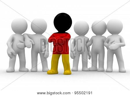 3d small person the leader of a team allocated with Germany flag. 3d image. Isolated white backgroun