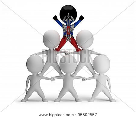 3d small people standing on each other in the form of a pyramid with the top leader Donetsk People