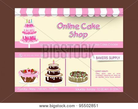 Website header or banner set for cake shop.