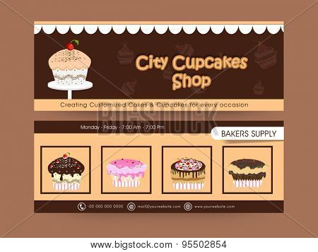 Website header or banner set for cupcake shop.
