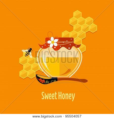 Jar with Honey Vector Illustration