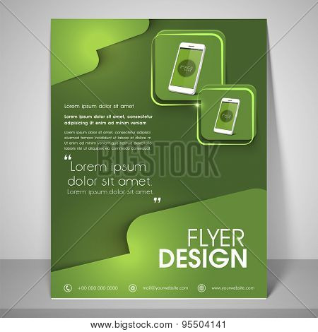 Abstract flyer design for business with mobile images, address bar, place holder and mailer.