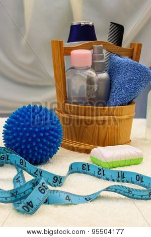Baby accessories: funds for the bath, the ball for massage, meter to measure the growth of the child