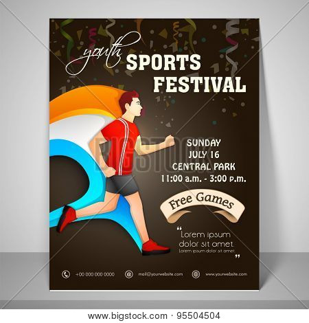 Youth festival sport flyer with running boy and mailer.