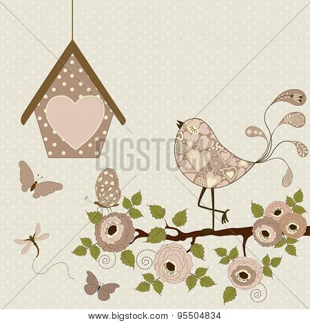 Floral Background With Stylized Bird And Butterflies
