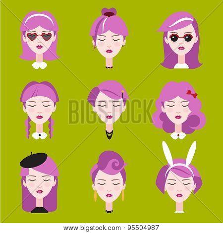 Fashion Girls in Head Accessories Set
