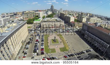 RUSSIA, MOSCOW - MAY 23, 2014: Traffic on Triumph Square at spring sunny day. Aerial view
