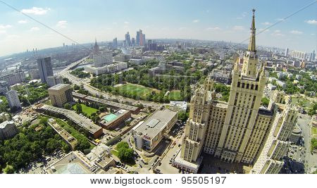 RUSSIA, MOSCOW - MAY 23, 2014: Megapolis panorama with residential skyscraper on Kudrinskaya street, White house and Moscow Business Center at sunny spring day. Aerial view
