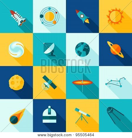Space Universe Long Shadows Icon Set