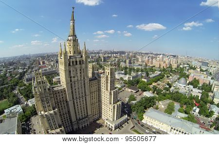 RUSSIA, MOSCOW - MAY 23, 2014: Aerial view of dwelling house against townscape at the Kudrinskaya square.