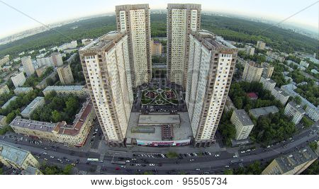 RUSSIA, MOSCOW - MAY 21, 2014: Dwelling complex Izmailovsky against townscape at spring day. Aerial view.