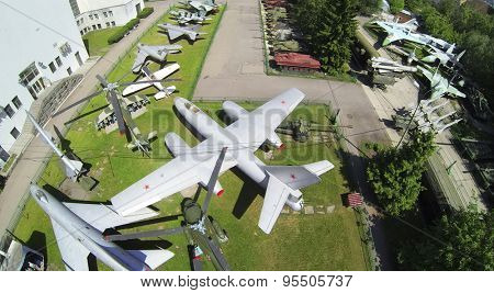 RUSSIA, MOSCOW - MAY 20, 2014: Museum of Armed Forces with military hardware exposition. Aerial view