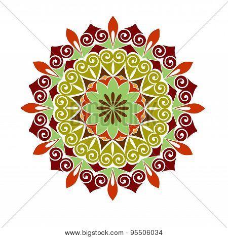 Abstract  Vector Circle Floral Ornamental Border.  Colored Mandala.