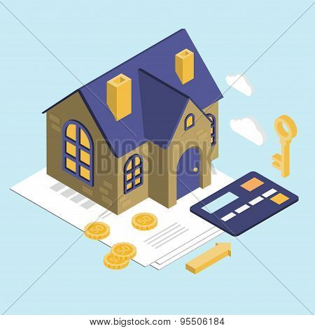 Isolated Isometric House, Vector Property Set