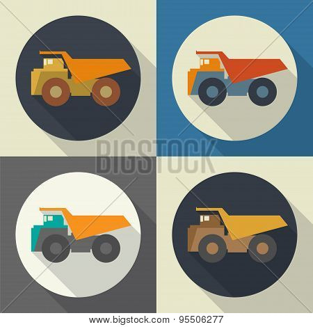 Dump Truck  Round Flat Icon With Long Shadows.