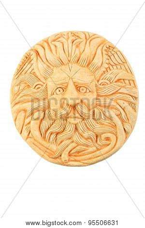 Ceramic Male Gorgon Medusa Head In Bath Isolated On White