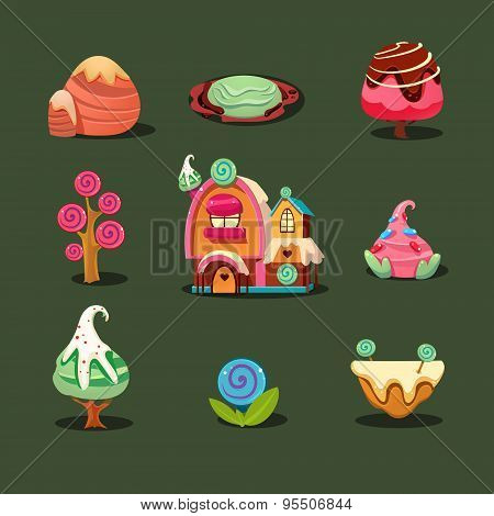 House From Cookies, Islands Sweets, Caramel Trees. Magic Elements for Game
