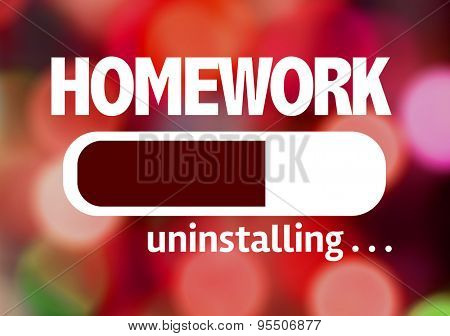 Progress Bar Uninstalling with the text: Homework