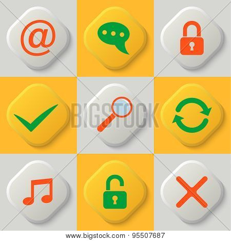Set Of Nine Web Icons