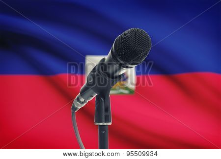 Microphone On Stand With National Flag On Background - Haiti