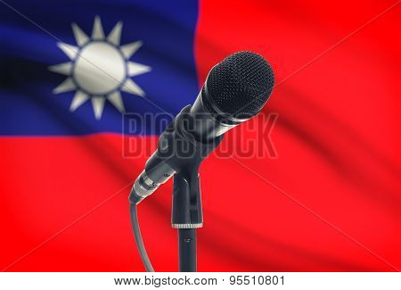 Microphone On Stand With National Flag On Background - Taiwan
