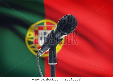 Microphone On Stand With National Flag On Background - Portugal