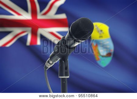 Microphone On Stand With National Flag On Background - Saint Helena